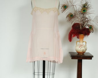 Vintage 1920s Chemise - Completely Sheer Early Step In Pink Silk Chiffon 20s Teddy with Lace Trim