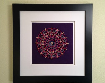 Beaded Mandala - Red, Blue, Purple, Gold - Framed - Wall Hanging