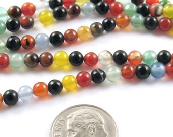 """15"""" Round Stone Beads-MULTI COLOR AGATE 4mm"""