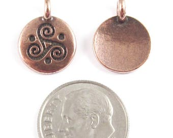 TierraCast Pewter Round Triskele Charms-Copper Triple Spiral 12x16mm (2)