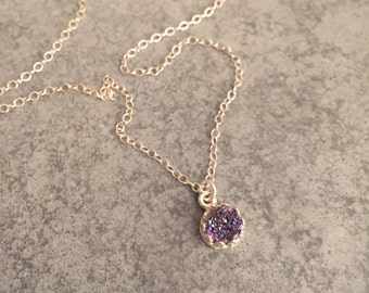 Purple Druzy Necklace in Victorian Style Bezel in Sterling Silver - Drusy Pendant - Minimalist Dainty Necklace