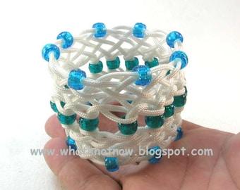white sennet braid rope bracelet blue bead knotted bracelet wrist cuff nautical knot jewelry 2106