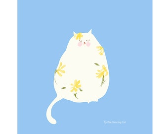 Beginnings of Spring - Cat Print - Spring Art - Cat Painting