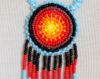 Native American Beadwork Necklace Navajo Seed Bead Vintage