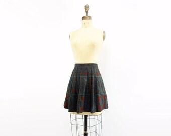 Vintage Mini Skirt 80s Plaid Mini Skirt Pleated Mini Skirt Plaid Wool Skirt Wool Mini Skirt Steel Blue Skirt Jewel Tone Skirt m