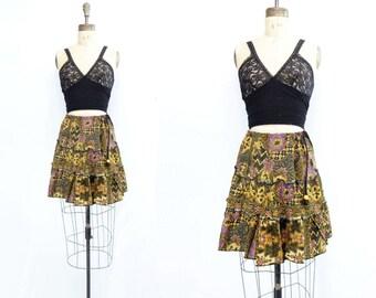 sale Ethnic Mini Skirt Vintage Tribal Skirt Boho Mini Skirt Tribal Full Skirt Mustard Black Skirt Boho Full Skirt Boho Summer Skirt s to m
