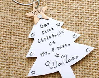First Christmas Ornament - hand stamped personalized couples ornament, Mr. and Mrs. Ornament