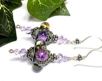 Bubble Bead Earrings Lampwork Earrings Cute Earrings Purple Earrings Fun Earrings Glass Earrings Handmade Earrings Art to Wear Earrings