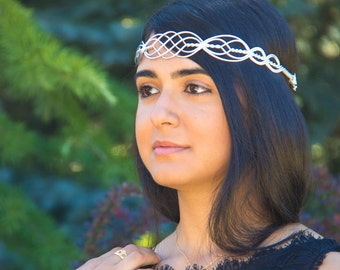 ROWAN Celtic Circlet Hand Wire Wrapped - Choose Your Own COLORS - Crown Tiara headband Wedding Bridal