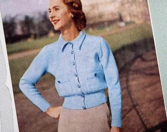 Vintage Knitting Pattern 1940s 1950s Women's Cardigan Ladies Short Jacket with collar Greenock UK No. BX162 40s 50s original colour pattern