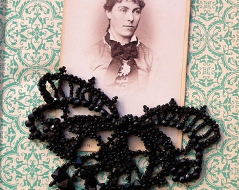 Antique Black Glass Bead Butterfly Applique Vintage Dress Embellishment Mourning Trim Handmade possibly Victorian