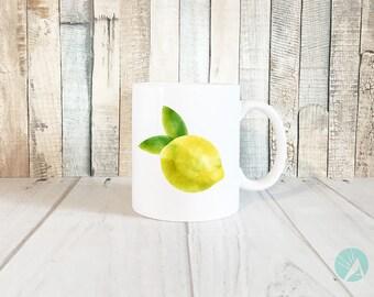 Watercolor Fruit Mug, Watercolor Fruit, Watercolor Mug, Lemon Mug, Housewarming Gift, Gardening Gift, Farmhouse Kitchen Decor, Lemon Kitchen