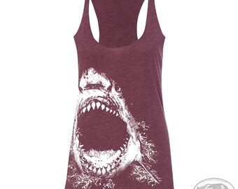 Women's SHARK -hand screen printed Tri-Blend Racerback Tank Top xs s m l xl xxl  (+Colors) Zen Threads