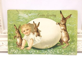 Vintage Easter Postcard, Vintage Postcard, Easter Card, Easter Ephemera, Easter Greetings, Baby in White Easter Egg with Brown Bunny Rabbits