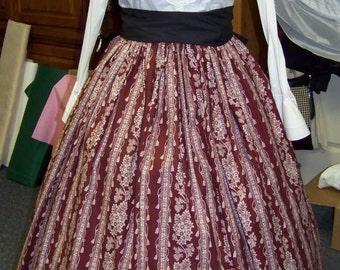 Colonial,Civil War,Victorian, Long SKIRT one size fits all Maroon and beige stripe colonial print with black sash.