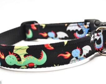 Dragons Dog Collar / Game of Thrones / Martingale or Buckle / Cartoon Dragon / Puff Magic Dragon
