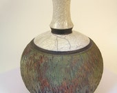 """Raku fired pottery bottle with white crackle and copper matte glaze and texture (9"""" tall x 6-1/2"""" wide) ceramic"""