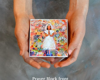 First Communion prayer block for a Girl, gift for first communion, customize name on back