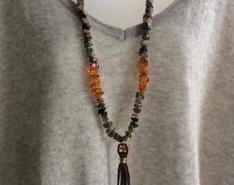 Amber and Jasper Necklace   Boho Necklace    Long Tassel Necklace   SALE PRICE