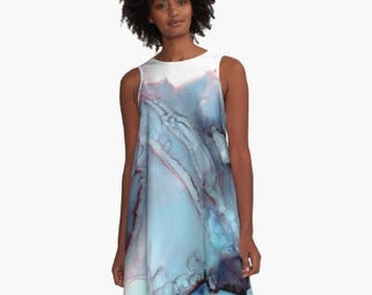 Colorful Casual Dress Cocktail Party ALine Dress Loose Wearable Art Clothing Office Attire Summer Cruise Girls Night Plus Size Blue Gray