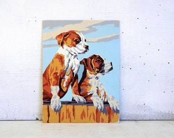 Paint By Number Puppies | Craftint Boxer Puppies Paint By Number Painting | PBN Puppy Dog Paint By Number