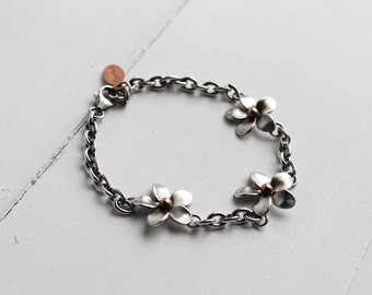 Plumeria Link Bracelet, Frangipani Bracelet, metalsmithed, gifts for her, wedding jewelry,  Hawaiian Wedding jewelry by Hapa Girls