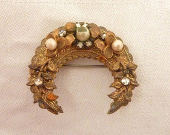 Antique Goldtone Faux Pearl and Rhinestone Haskell Style Brooch