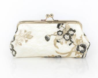 Black white and Gold Floral Clutch | Embroidered tulle lace | Mother of the Bride and Groom Gift | Ready to Ship