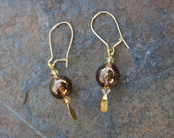 Brandy Ball Earrings - Czech glass bronze luster beads and Swarovski crystals on 14k gold filled kidney earwires - free shipping in USA