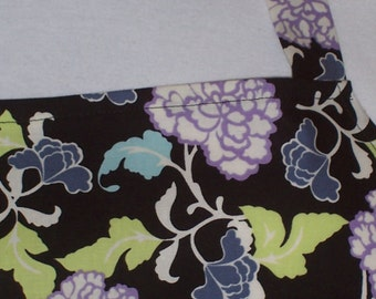 Women's Full Apron, Black Floral Apron, Kitchen Apron, Pocket Apron, Bib Apron, Hostess Gift, Purple Flowers,