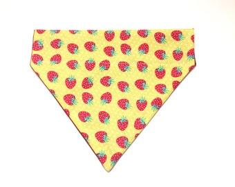 Pet Accessory - Yellow Strawberry - Over the Collar - Custom - Bandana, Bow Tie, Neck Tie, Flower