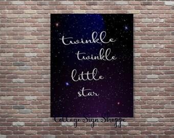 Twinkle Twinkle Little Star,Nursery Decor,INSTANT DOWNLOAD,Printable Nursery Art,Printable Wall Decor,Printable Poster,Nursery Rhyme