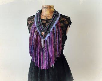 Fringed Tribal Scarf Women's Hippie Clothing Purple Boho Necklace Bohemian Festival Upcycled Jeans Artistic Jewelry Shaggy Fringe 'SYLVIE'