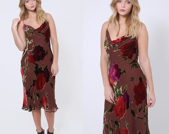 Vintage 90s Burn Out VELVET Dress Boho Evening Dress SILK Floral Party Dress Slip Dress