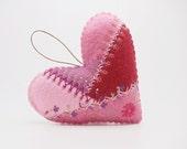 Crazy Quilt Felt Heart Ornament, Patchwork Felt Heart, Valentine's Day 2017 Ornament, Felt Valentine Gift Topper, Felt Valentine Decoration