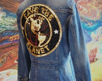 Denim Jacket, SAVE the PLANET, Blue Jean Jacket, Eco Chic, Upcycle, Petite size S