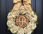 PERSONALIZED WREATHS, Wreaths, Wreath, Wedding Wreaths, Front Door Wreaths, Hydrangea Wreaths,Monogram Letter Wreaths, Wedding Monograms