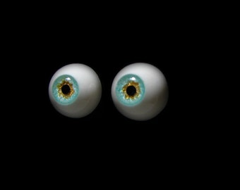 "14mm bjd eyes ""Caribbean Sea"", Bjd eyes, Doll eyes, Seafoam eyes, Handmade eyes, Urethane eyes, Resin eyes, Fantasy eyes, Realistic eyes"