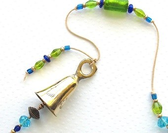 Beaded Wind Chime: Garden Chime with Apple Green Foil-Lined Glass Beads. Lime. Aqua. Cobalt Blue. Teal. Antiqued Gold. Brass Bell