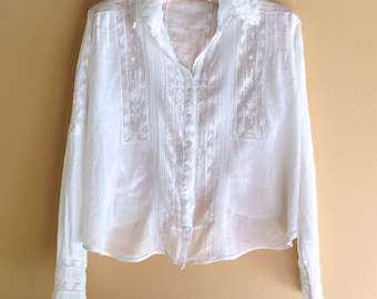 RESERVED for Donna Edwardian White Blouse in Cotton Size Large