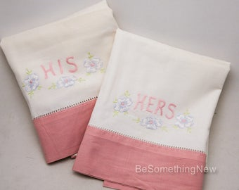 Vintage Set of His and Hers Pillowcases, Embroidered Vintage Pink and White Pillow Cases, standard size Wedding Gift