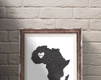 Africa Home Is Where The Heart Is Themed Modern Vintage Illustration Instant Download Printable Digital File Wall Decor Art Print