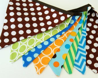 Monster Birthday Decoration Banner, Bunting -- Brown, Teal, Aqua Blue, Lime Green, Orange, Turquoise Fabric Flags - Baby Boy Shower