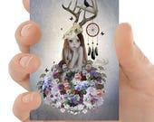 Lowbrow ACEO Card - Big Eyes Art - Floral Art - Flower Girl Art - Miniature Art - Artist Trading Card - The Collector