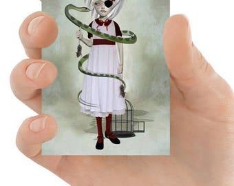 Snake ACEO Card - Big Eyed Girl & Snake - Big Eyes Art - Lowbrow Art Card - Immune