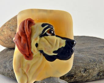 GREAT DANE dog glass sculpture  lampwork glass bead, whimisical lampwork focal bead, Izzybeads SRA