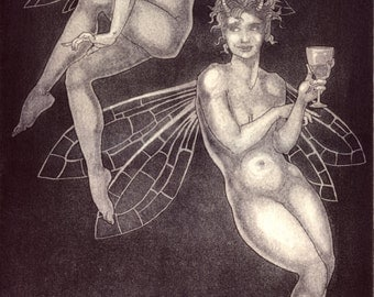 "Etching print - ""Wine and Glances"" - original art by Nancy Farmer, UK. purple / monochrome print. Classical female, draped nudes."
