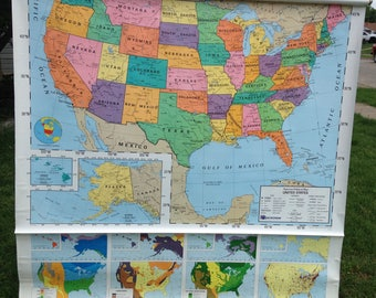 Political Classroom Roll Down Wall Map of The World and the United States by Nystrom