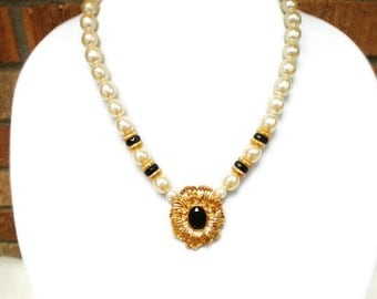 Beaded Pearl Statement Necklace, Vintage Kenneth Jay Lane, Chic Diva Fashion Accessory, New York Collection for Avon, Gold Tone, Faux Pearls