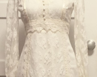 70s vintage lace wedding dress, new vintage condition